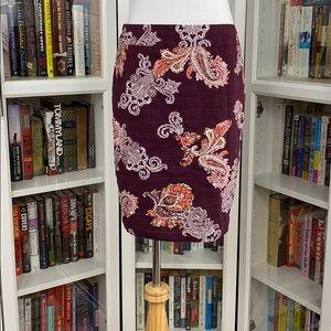 Ann Taylor Factory Petite Plum Paisley Print Skirt